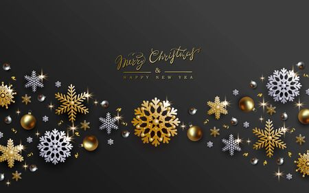 Black Christmas Design with Border made of Realistic Gold and Silver balls, Cutout Golden and White Foil Snowflakes.