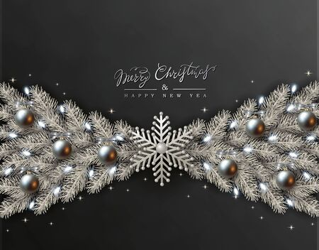Black Christmas Design with Border made of Realistic Silver Balls, White snowflakes and Silvery Branches of Christmas Tree, light bulb.