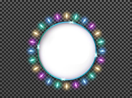 Round banner with luminous colorful light bulbs isolated on transparent  with place for text.