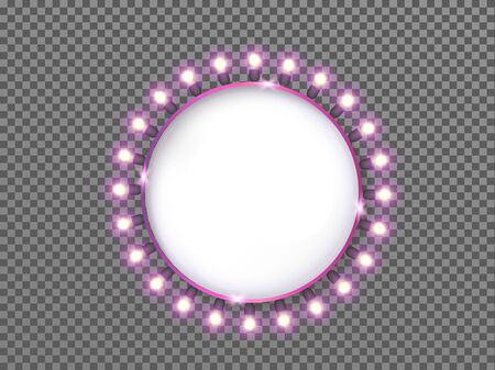 Round banner with luminous pink light bulbs isolated on transparent  with place for text. 일러스트