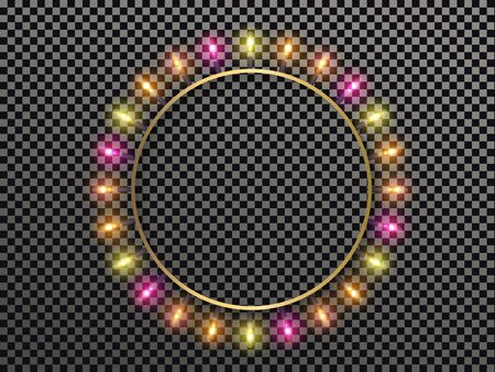 Round frame with luminous colorful light bulbs isolated on transparent background with place for text. Vector element for Christmas and New Year holiday design EPS 10 일러스트