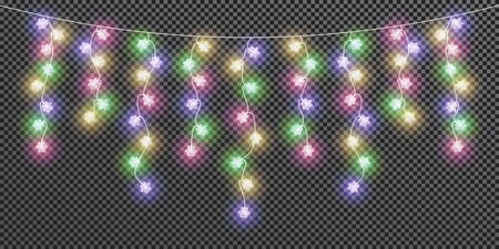 Glowing lightbulbs snowflakes Christmas and New Year. Realistic colorful garland isolated on transparent background. Set Xmas decorations for festive design of postcard, banner, poster, website