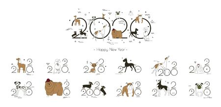 2020 dog calendar, Creative headline and 12 logos with different breeds of dogs Illustration