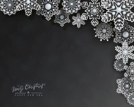 Christmas holiday design with 3d transparent openwork snowflakes on a black