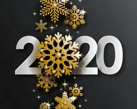 2020 Happy New Year, creative date design. White volumetric numbers with 3d golden christmas balls hanging on gold chains on black  イラスト・ベクター素材