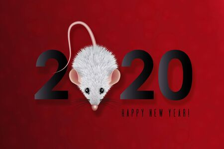 2020 Chinese New Year Design. Year of the white rat in the eastern calendar. Date with a stylized mouse with shaggy wool. Composition of black numbers with rat on red background. Vecton illustration