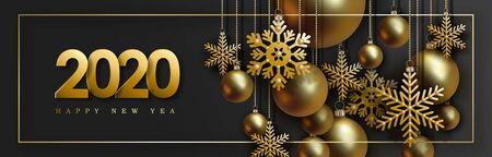 2020 Christmas and New Year design with hanging realistic golden balls and decorative snowflakes on gold chains on black background. Stock Illustratie