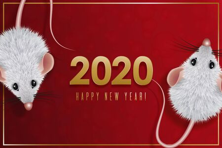 2020 Chinese New Year Design. Year of the white rat in the eastern calendar. Date with a stylized mouse with shaggy wool. Composition of golden numbers with rat on red background.