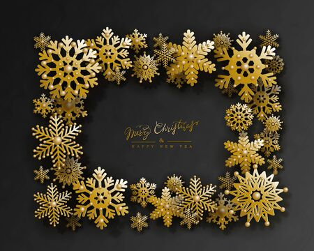 Christmas and New Year holiday design with 3d golden snowflakes and space for text on black background. Elegant frame.