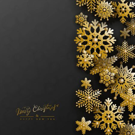 Christmas holiday design with 3d golden snowflakes on black background. Elegant vertical postcard with right border in paper cut style.