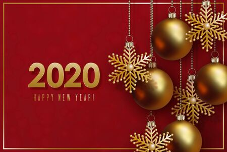 2020 New Year and Christmas design. Golden 3D balls and decorative snowflakes hang on gold chains on red background.