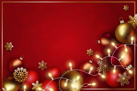 Christmas and New Year design. Gold and red realistic christmas balls, decorative golden snowflakes and garland of light bulb on red background.