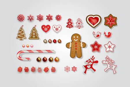 Christmas and New Year decorations. Set of Scandinavian objects for festive design. Gingerbread, lollipop, snowflakes, reindeer, elk,