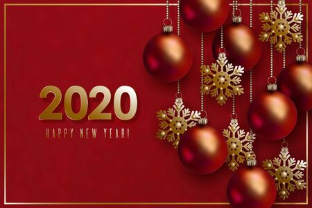 Christmas and 2020 New Year design. 3D red realistic christmas balls and decorative golden snowflakes hang on gold chains on red background.