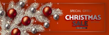 Design Christmas sales and discounts. White branches of a Christmas tree with red and silver 3D balls on a red background with the announcement.