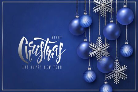 Merry Christmas and Happy New Year design, lettering with 3D blue realistic Christmas balls and decorative silver snowflakes hang on gold chains on a red background