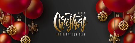 Christmas and 2020 New Year design. 3D red realistic christmas balls and decorative golden snowflakes hang on gold chains on black background. Hand lettering inscription.