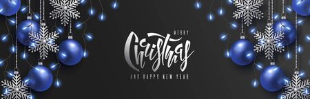 Christmas and 2020 New Year vector design. 3D blue realistic christmas balls, decorative silver snowflakes hang on chains, garland of light bulb, hand lettering inscription on black background Ilustrace