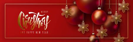 Christmas and New Year horizontal banner. 3D red realistic christmas balls and decorative golden snowflakes hang on gold chains on red background. Hand lettering inscription. Festive vector design