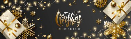 Christmas and New Year design, gift box, gold balls, golden snowflakes, garland with luminous bulbs, lettering on black background. Festive vector horizontal template  イラスト・ベクター素材