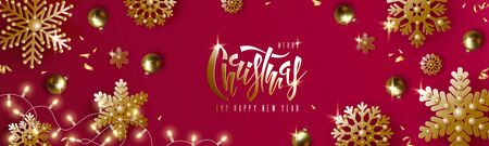 Christmas and New Year design, gold christmas balls, golden snowflakes, garland with luminous bulbs, lettering on red background. Festive vector horizontal template EPS10