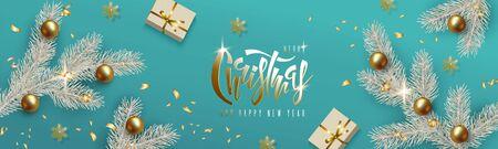 Diseño de Navidad y año nuevo, rama de árbol de Navidad blanca, bolas de oro realistas, caja de regalo y copos de nieve dorados sobre fondo turquesa. Inscripción de letras de mano. Banner de vector horizontal festivo
