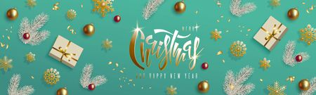 Christmas and New Year design, white Christmas tree branch, realistic gold red balls, gift box, golden snowflakes on mint background. Hand lettering inscription. Festive horizontal vector banner