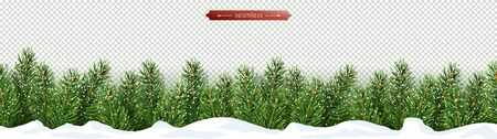 Christmas and New Year lower horizontal border with Christmas tree branches in the snow. Isolated vector object for holiday design on a transparent background