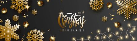 Christmas and New Year design, gold balls, golden snowflakes, garland with luminous bulbs, lettering on black background. Festive horizontal template. Vector illustration