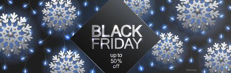Black friday sale, horizontal banner with flying silver snowflakes and light curtain from garlands of blue glowing light bulbs on a black