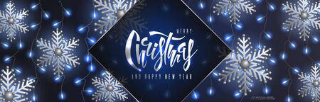 Christmas and New Year horizontal banner with flying silver snowflakes and light curtain from garlands of blue glowing light bulbs on a black