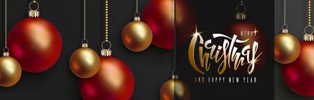 Christmas and New Year design red and golden balls hang on gold chains, hand lettering inscription Christmas on black