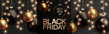 Black friday sale, horizontal banner with black and golden realistic balls hanging on gold chains  イラスト・ベクター素材