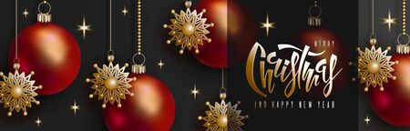 Christmas and New Year design. 3D red balls and golden snowflakes hang on gold chains, hand handwritten lettering inscription Christmas on black background. Vector horizontal banner EPS10