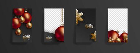 Vorlage für Weihnachts- und Neujahrsgeschichten. Festlicher schwarzer Hintergrund mit roten und goldenen 3D-Weihnachtskugeln und goldenen Schneeflocken hängen an goldenen Ketten. Soziale Medien, soziales Netzwerk, Platz für Text kopieren