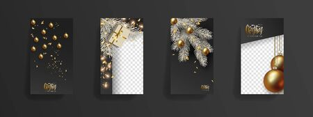 Christmas New Year storys template. Festive black background, golden 3D christmas balls, gold glitter, christmas tree branch, glowing light bulbs. Social media, social network, copy space for text  イラスト・ベクター素材