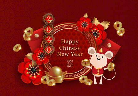 2020 Chinese New Year Rat zodiac sign design.  イラスト・ベクター素材
