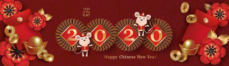 2020 Chinese New Year Rat zodiac sign.  イラスト・ベクター素材