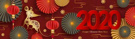2020 Chinese New Year design. Year of the rat zodiac sign.
