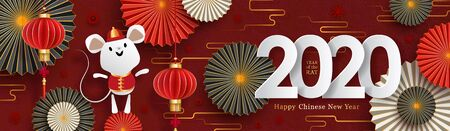 2020 Chinese New Year banner. Year of the rat zodiac sign.  イラスト・ベクター素材