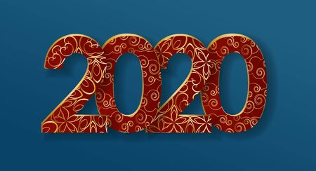 2020 Chinese New Year, creative date design, red and gold volumetric numbers with stylized floral ornament on a dark blue Illustration