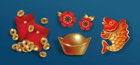 China New Year, set of red golden objects for festive design isolated on blue  イラスト・ベクター素材
