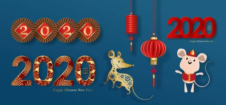 2020 China New Year, set of red golden objects for a festive design isolated on a blue