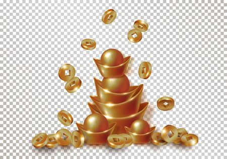 Chinese traditional gold or copper ingots and falling coins.  イラスト・ベクター素材