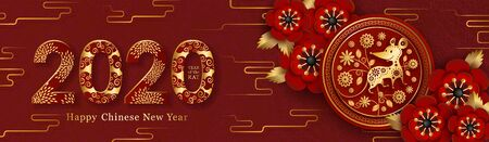 2020 Chinese New Year banner. Paper cut 3d round shape with a rat, floral and traditional geometric ornament, peony flowers, decorative date.