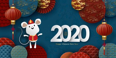 2020 Chinese New Year banner. Rat, 3d lanterns, shapes with floral pattern, traditional clouds in paper cut style.