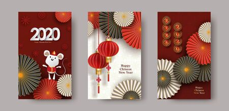 2020 Chinese New Year of the Rat. Set of vertical vector banners, posters, leaflet, flyers.  イラスト・ベクター素材