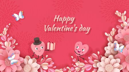 Valentines day design, animated cute hearts, a young man gives a girl a gift among blooming peonies and butterfly. Illustration