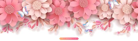 Flower border in the style of paper cut. Pink pastel peonies with decorative sprouts leaves and buds. Transparent shadows. Vector seamless horizontal pattern isolated on white background.