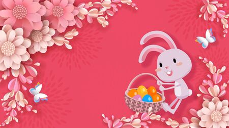 Easter vector banner, 3d flowers, cute rabbit drags a basket with colored eggs, butterflies. Festive and advertising background, greeting card with place for text in style of paper cut